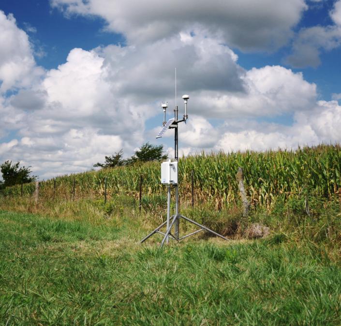 Hydrologic sensor deployed near a corn field