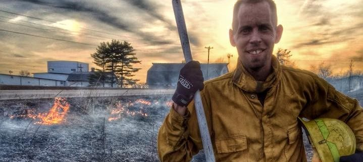 Josh Stai, English River WMA Technician conducting a prescribed burn