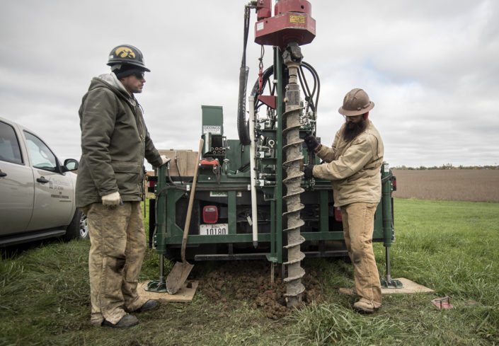 IGS Researchers Ryan Clark and Matthew Streeter operate the drill rig.