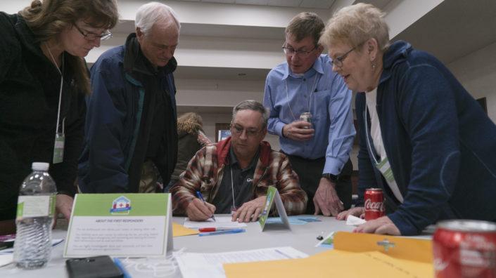Participants at a Flood Resiliency Tournament
