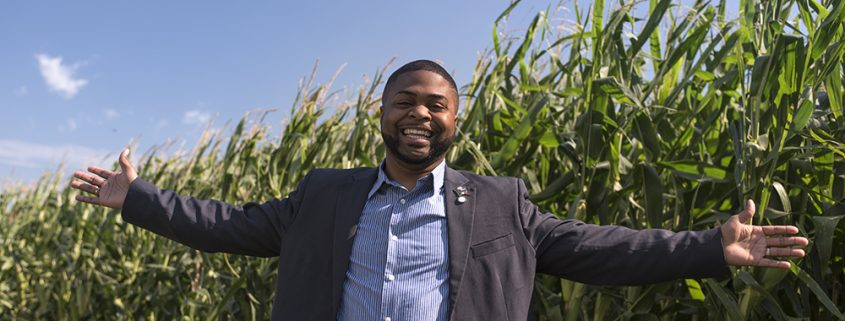 North Carolina mayor stands in front of a corn field