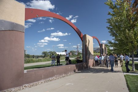 The tour group visited sites around Cedar Rapids including this flood control structure/amphitheatre.